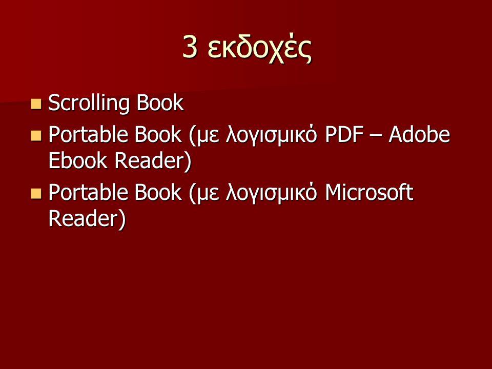 3 εκδοχές Scrolling Book Scrolling Book Portable Book (με λογισμικό PDF – Adobe Ebook Reader) Portable Book (με λογισμικό PDF – Adobe Ebook Reader) Portable Book (με λογισμικό Microsoft Reader) Portable Book (με λογισμικό Microsoft Reader)