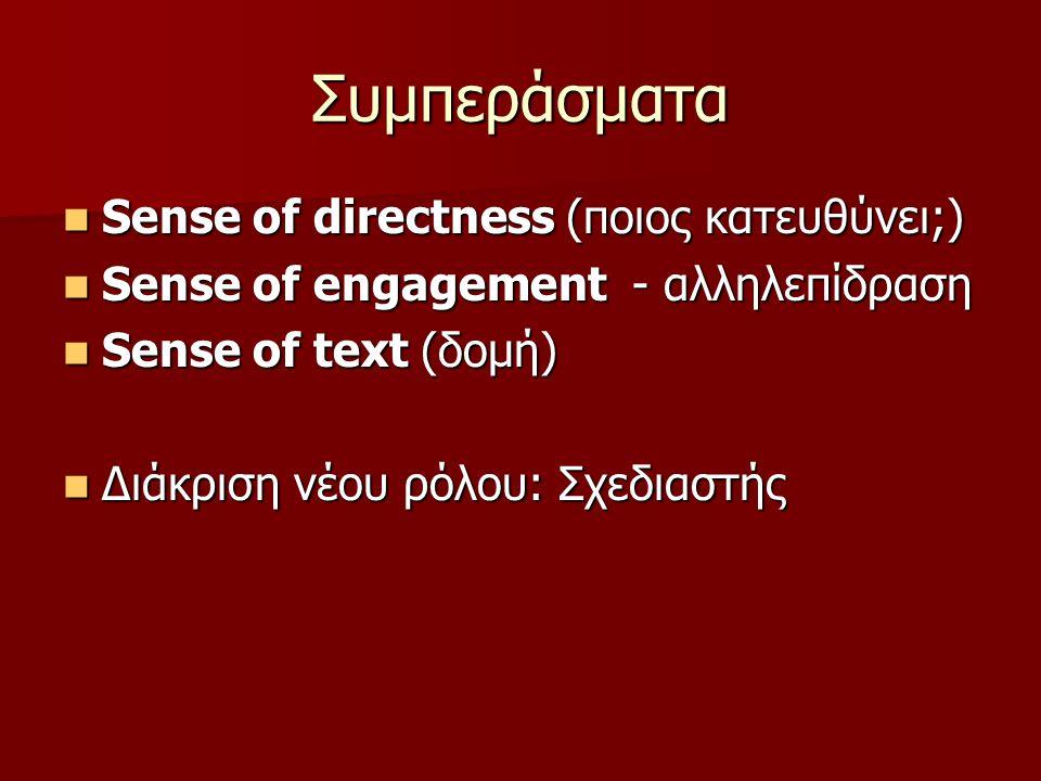 Συμπεράσματα Sense of directness (ποιος κατευθύνει;) Sense of directness (ποιος κατευθύνει;) Sense of engagement - αλληλεπίδραση Sense of engagement - αλληλεπίδραση Sense of text (δομή) Sense of text (δομή) Διάκριση νέου ρόλου: Σχεδιαστής Διάκριση νέου ρόλου: Σχεδιαστής