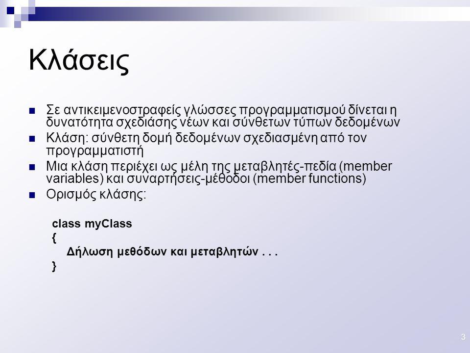 14 int a int Ορισμός μεταβλητής αντίστοιχου τύπου Τύπος Δεδομένων Employee John=new Employee( ) Class Employee{…..} Αρχικοποίηση αντικειμένου κλάσης Ορισμός κλάσης Κλάση: σύνθετος τύπος δεδομένων Αντικείμενο: στιγμιότυπο (instance) μιας κλάσης Σχέση κλάσεων-αντικειμένων