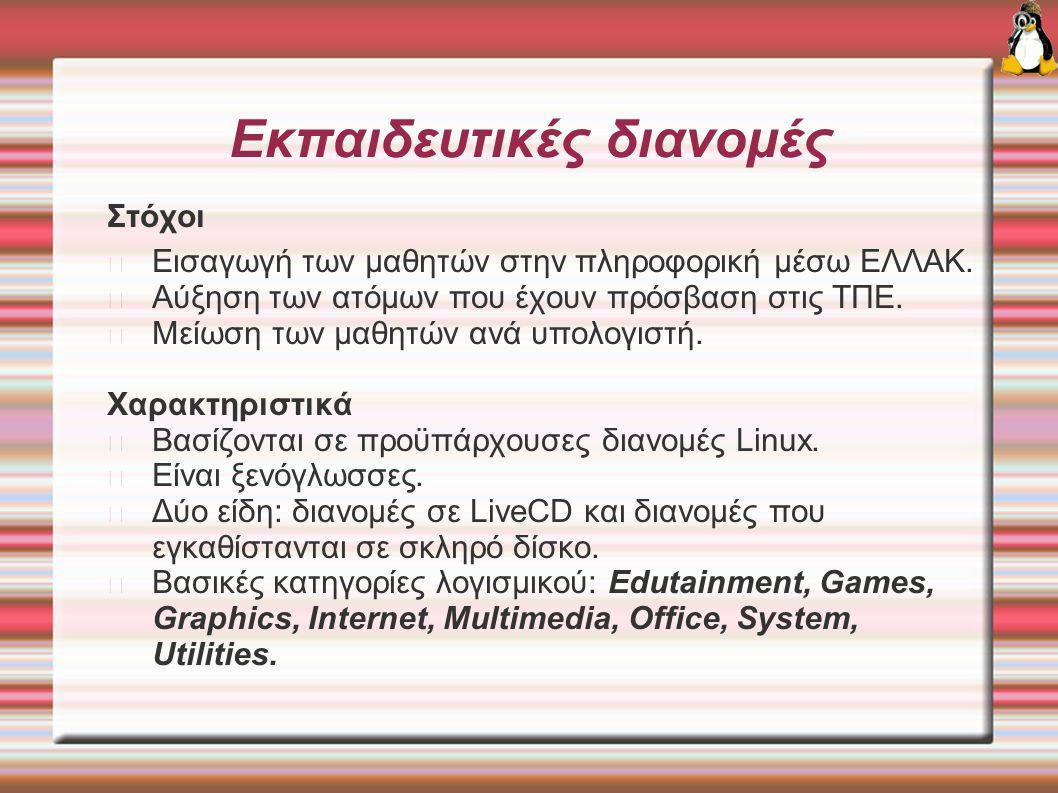 Σχετικές διευθύνσεις http://edu.kde.org http://www.collegelinux.org http://www.edubuntu.org http://www.edulinux.org http://www.edulinux.cl http://www.ofset.org/freeduc-cd http://www.abuledu.org http://www.skolelinux.org/portal http://www.skolelinux.no/~conrad/snofrix.html http://www.sulix.hu/hu/index.php http://www.knoppel.org/modules/news http://www.zeuslinux.gr http://www.os.cs.teiath.gr/front_content.php?idcat=3 http://zeus.it.uom.gr/projects/opensource/