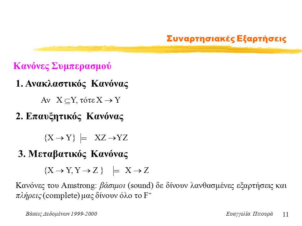 Βάσεις Δεδομένων 1999-2000 Ευαγγελία Πιτουρά 11 Συναρτησιακές Εξαρτήσεις Κανόνες Συμπερασμού 1.