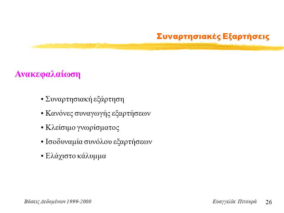 Βάσεις Δεδομένων 1999-2000 Ευαγγελία Πιτουρά 26 Συναρτησιακές Εξαρτήσεις Ανακεφαλαίωση Συναρτησιακή εξάρτηση Κανόνες συναγωγής εξαρτήσεων Κλείσιμο γνωρίσματος Ισοδυναμία συνόλου εξαρτήσεων Ελάχιστο κάλυμμα