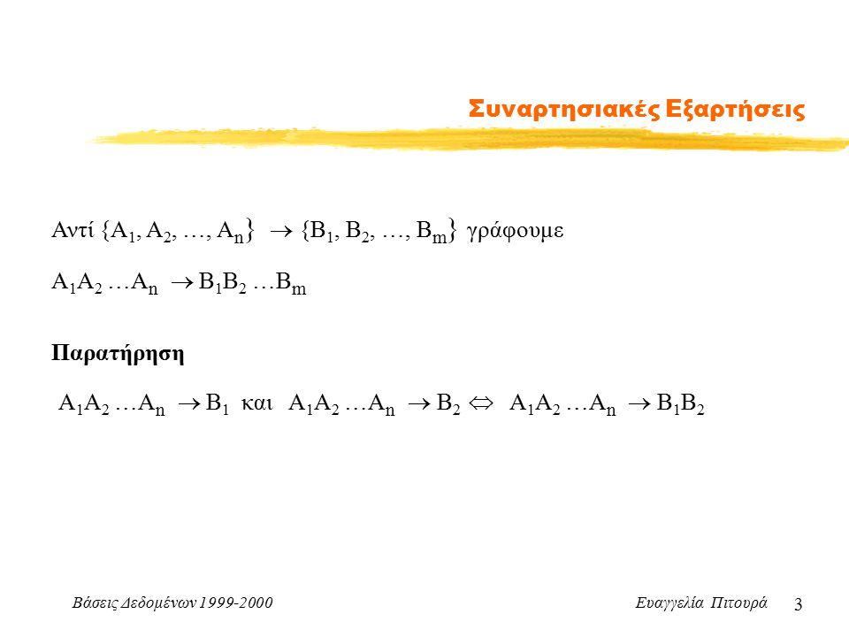 Βάσεις Δεδομένων 1999-2000 Ευαγγελία Πιτουρά 14 Συναρτησιακές Εξαρτήσεις Υπολογισμός Κλεισίματος Χ + : κλείσιμο ενός συνόλου X από γνωρίσματα υπό το F σύνολο όλων των γνωρισμάτων που εξαρτώνται συναρτησιακά από το X μέσω του F Υπολογισμός του Χ + Result := Χ while (αλλαγή στο Result) Για κάθε συναρτησιακή εξάρτηση: Υ  Ζ  F Αν Υ  Result, Result := Result  Z