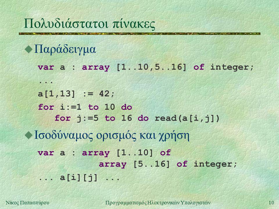 10Νίκος Παπασπύρου Προγραμματισμός Ηλεκτρονικών Υπολογιστών Πολυδιάστατοι πίνακες u Παράδειγμα var a : array [1..10,5..16] of integer;...