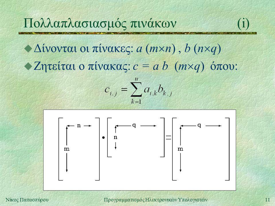 11Νίκος Παπασπύρου Προγραμματισμός Ηλεκτρονικών Υπολογιστών Πολλαπλασιασμός πινάκων(i) u Δίνονται οι πίνακες: a (m  n), b (n  q) u Ζητείται ο πίνακας: c = a b (m  q) όπου: