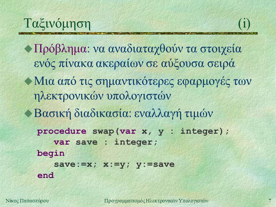 7Νίκος Παπασπύρου Προγραμματισμός Ηλεκτρονικών Υπολογιστών Ταξινόμηση(i) u Πρόβλημα: να αναδιαταχθούν τα στοιχεία ενός πίνακα ακεραίων σε αύξουσα σειρά u Μια από τις σημαντικότερες εφαρμογές των ηλεκτρονικών υπολογιστών u Βασική διαδικασία: εναλλαγή τιμών procedure swap(var x, y : integer); var save : integer; begin save:=x; x:=y; y:=save end