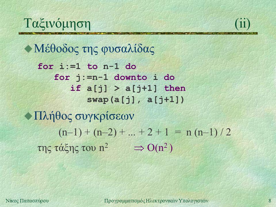 8Νίκος Παπασπύρου Προγραμματισμός Ηλεκτρονικών Υπολογιστών Ταξινόμηση(ii) u Μέθοδος της φυσαλίδας for i:=1 to n-1 do for j:=n-1 downto i do if a[j] > a[j+1] then swap(a[j], a[j+1]) u Πλήθος συγκρίσεων (n–1) + (n–2) +...