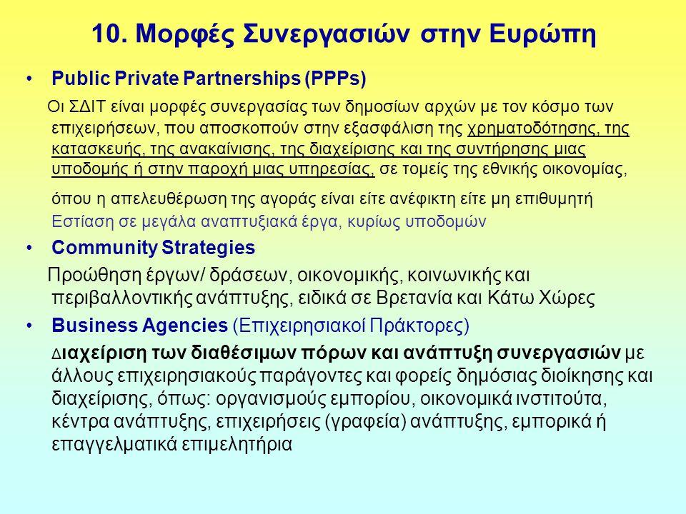 10. Μορφές Συνεργασιών στην Ευρώπη Public Private Partnerships (PPPs) Οι ΣΔΙΤ είναι μορφές συνεργασίας των δημοσίων αρχών με τον κόσμο των επιχειρήσεω
