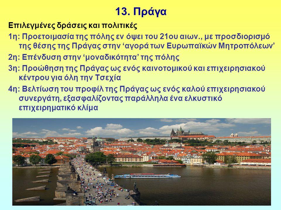 13. Πράγα Επιλεγμένες δράσεις και πολιτικές 1η: Προετοιμασία της πόλης εν όψει του 21ου αιων., με προσδιορισμό της θέσης της Πράγας στην 'αγορά των Ευ