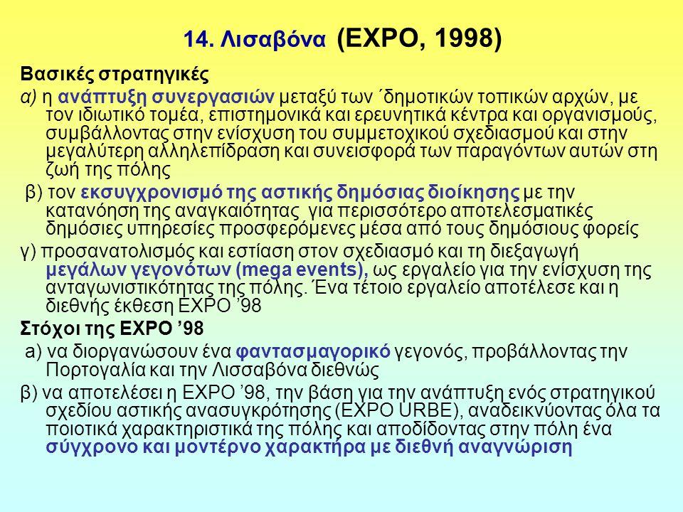 14. Λισαβόνα (EXPO, 1998) Βασικές στρατηγικές α) η ανάπτυξη συνεργασιών μεταξύ των ΄δημοτικών τοπικών αρχών, με τον ιδιωτικό τομέα, επιστημονικά και ε
