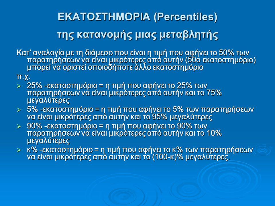 ΕΚΑΤΟΣΤΗΜΟΡΙΑ (Percentiles) της κατανομής μιας μεταβλητής Κατ' αναλογία με τη διάμεσο που είναι η τιμή που αφήνει το 50% των παρατηρήσεων να είναι μικ