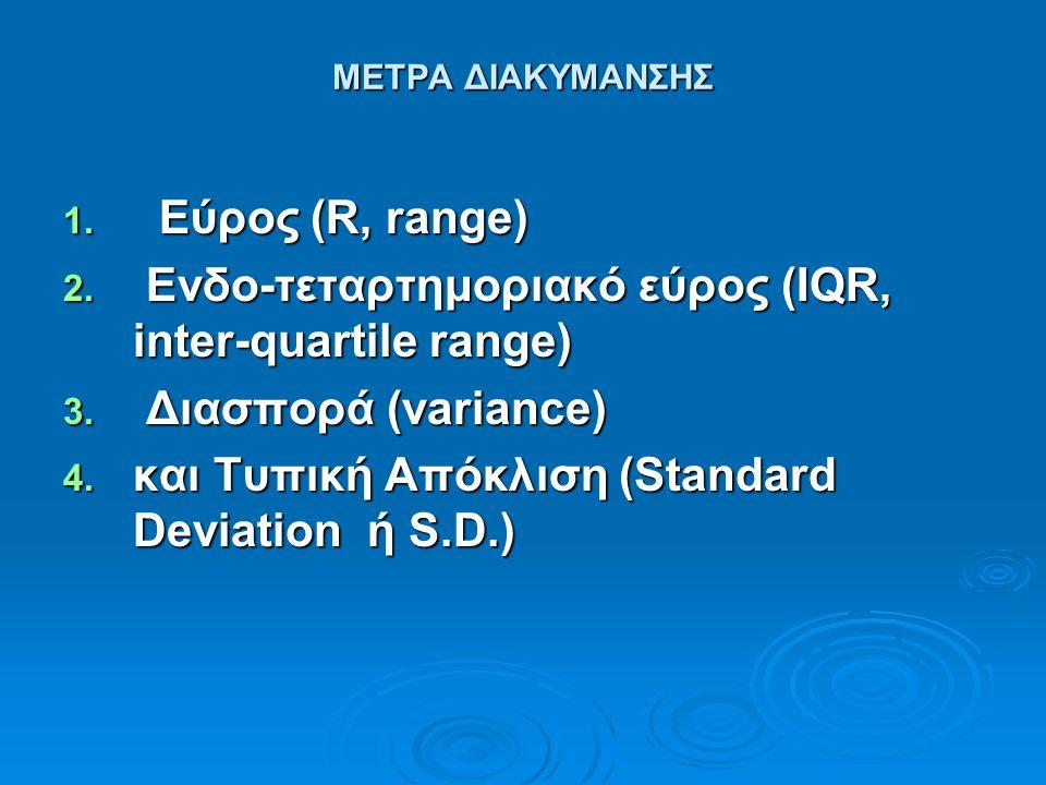ΜΕΤΡΑ ΔΙΑΚΥΜΑΝΣΗΣ 1. Εύρος (R, range) 2. Ενδο-τεταρτημοριακό εύρος (IQR, inter-quartile range) 3. Διασπορά (variance) 4. και Τυπική Απόκλιση (Standard