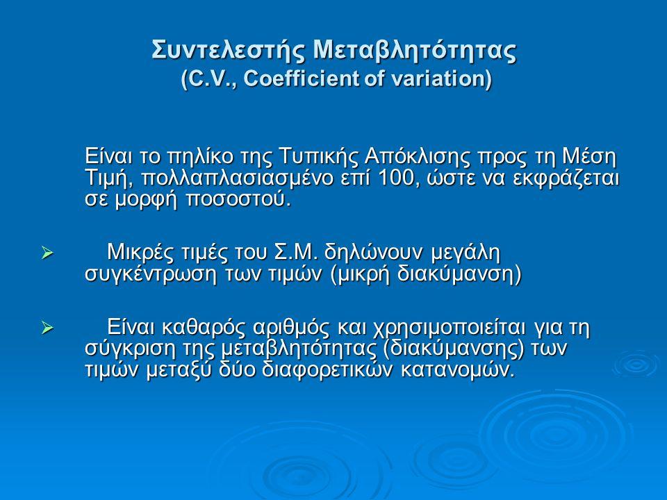 Συντελεστής Μεταβλητότητας (C.V., Coefficient of variation) Είναι το πηλίκο της Τυπικής Απόκλισης προς τη Μέση Τιμή, πολλαπλασιασμένο επί 100, ώστε να