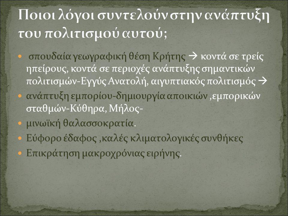 σπουδαία γεωγραφική θέση Κρήτης  κοντά σε τρείς ηπείρους, κοντά σε περιοχές ανάπτυξης σημαντικών πολιτισμών-Εγγύς Ανατολή, αιγυπτιακός πολιτισμός  α
