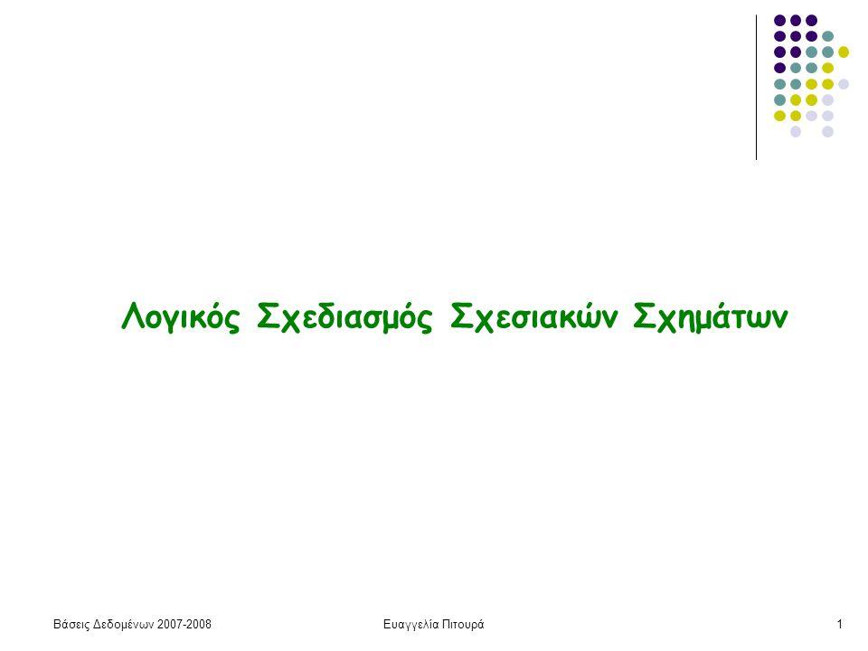 Βάσεις Δεδομένων 2007-2008Ευαγγελία Πιτουρά32 Σχεδιασμός Σχεσιακών Σχημάτων (επανάληψη) Αλγόριθμος σχεδιασμού Αρχικά ένα καθολικό σχήμα σχέσης που περιέχει όλα τα γνωρίσματα Προσδιορισμός των συναρτησιακών εξαρτήσεων Διάσπαση σε ένα σύνολο από σχήματα που ικανοποιούν κάποιες ιδιότητες Αποσύνθεση (decomposition)