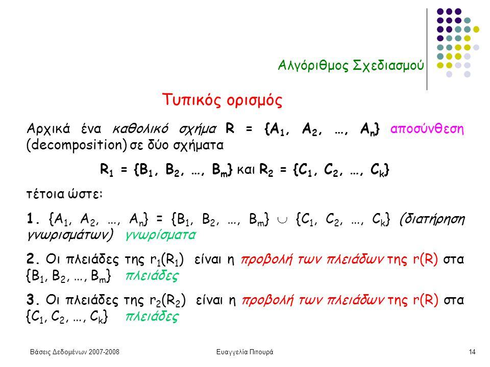 Βάσεις Δεδομένων 2007-2008Ευαγγελία Πιτουρά14 Αλγόριθμος Σχεδιασμού Αρχικά ένα καθολικό σχήμα R = {A 1, A 2, …, A n } αποσύνθεση (decomposition) σε δύο σχήματα R 1 = {B 1, B 2, …, B m } και R 2 = {C 1, C 2, …, C k } τέτοια ώστε: 1.