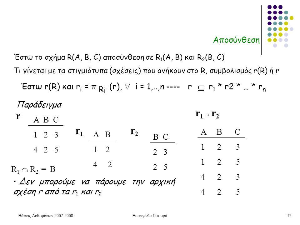 Βάσεις Δεδομένων 2007-2008Ευαγγελία Πιτουρά17 Αποσύνθεση Έστω r(R) και r i = π R i (r),  i = 1,..,n ---- r  r 1 * r2 * … * r n Παράδειγμα Α B C 1 2 3 4 2 5 r A B 1 2 4 2 r1r1 r2r2 B C 2 3 2 5 r 1 * r 2 A B C 1 2 3 1 2 5 4 2 3 4 2 5 Δεν μπορούμε να πάρουμε την αρχική σχέση r από τα r 1 και r 2 Έστω το σχήμα R(A, B, C) αποσύνθεση σε R 1 (A, B) και R 2 (B, C) Τι γίνεται με τα στιγμιότυπα (σχέσεις) που ανήκουν στο R, συμβολισμός r(R) ή r R 1  R 2 = Β