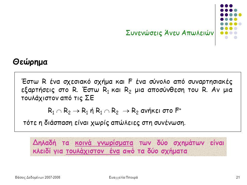 Βάσεις Δεδομένων 2007-2008Ευαγγελία Πιτουρά21 Συνενώσεις Άνευ Απωλειών Έστω R ένα σχεσιακό σχήμα και F ένα σύνολο από συναρτησιακές εξαρτήσεις στο R.