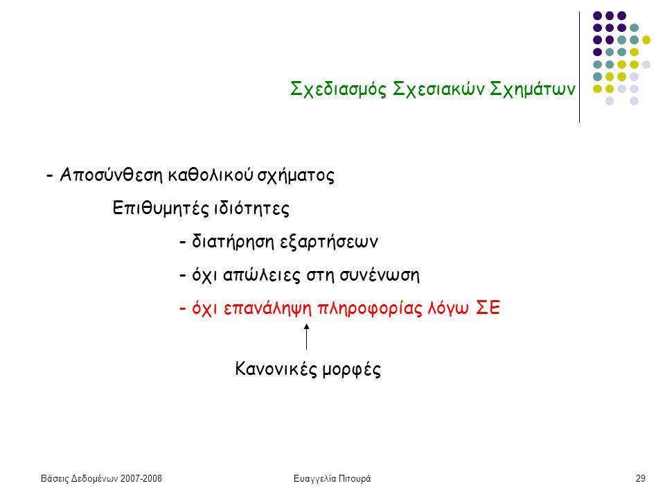 Βάσεις Δεδομένων 2007-2008Ευαγγελία Πιτουρά29 Σχεδιασμός Σχεσιακών Σχημάτων - Αποσύνθεση καθολικού σχήματος Επιθυμητές ιδιότητες - διατήρηση εξαρτήσεων - όχι απώλειες στη συνένωση - όχι επανάληψη πληροφορίας λόγω ΣΕ Κανονικές μορφές