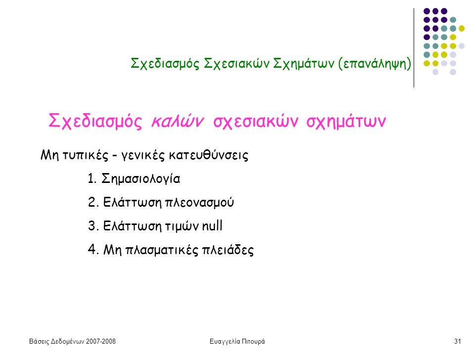 Βάσεις Δεδομένων 2007-2008Ευαγγελία Πιτουρά31 Σχεδιασμός Σχεσιακών Σχημάτων (επανάληψη) Σχεδιασμός καλών σχεσιακών σχημάτων Μη τυπικές - γενικές κατευθύνσεις 1.