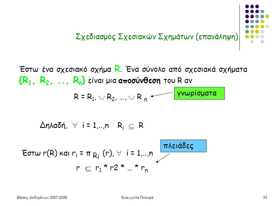 Βάσεις Δεδομένων 2007-2008Ευαγγελία Πιτουρά33 Σχεδιασμός Σχεσιακών Σχημάτων (επανάληψη) Έστω ένα σχεσιακό σχήμα R.