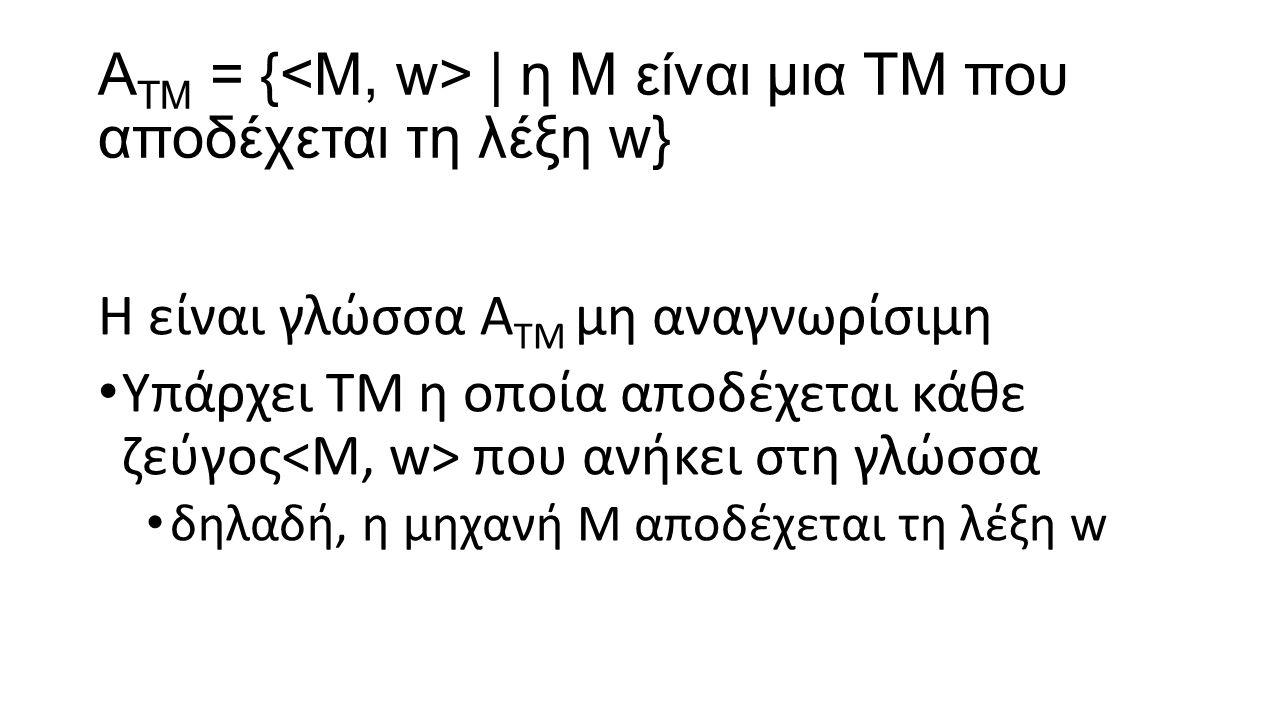A ΤΜ = { | η Μ είναι μια ΤΜ που αποδέχεται τη λέξη w} Η είναι γλώσσα A ΤΜ μη αναγνωρίσιμη Υπάρχει ΤΜ η οποία αποδέχεται κάθε ζεύγος που ανήκει στη γλώ