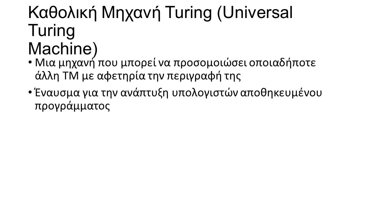 Καθολική Μηχανή Turing (Universal Turing Machine) Μια μηχανή που μπορεί να προσομοιώσει οποιαδήποτε άλλη ΤΜ με αφετηρία την περιγραφή της Έναυσμα για