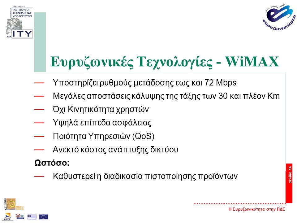 Η Ευρυζωνικότητα στην ΠΔΕ σελίδα 14 Ευρυζωνικές Τεχνολογίες - WiMAX — Υποστηρίζει ρυθμούς μετάδοσης εως και 72 Mbps — Μεγάλες αποστάσεις κάλυψης της τάξης των 30 και πλέον Km — Όχι Κινητικότητα χρηστών — Υψηλά επίπεδα ασφάλειας — Ποιότητα Υπηρεσιών (QoS) — Ανεκτό κόστος ανάπτυξης δικτύου Ωστόσο: — Καθυστερεί η διαδικασία πιστοποίησης προϊόντων