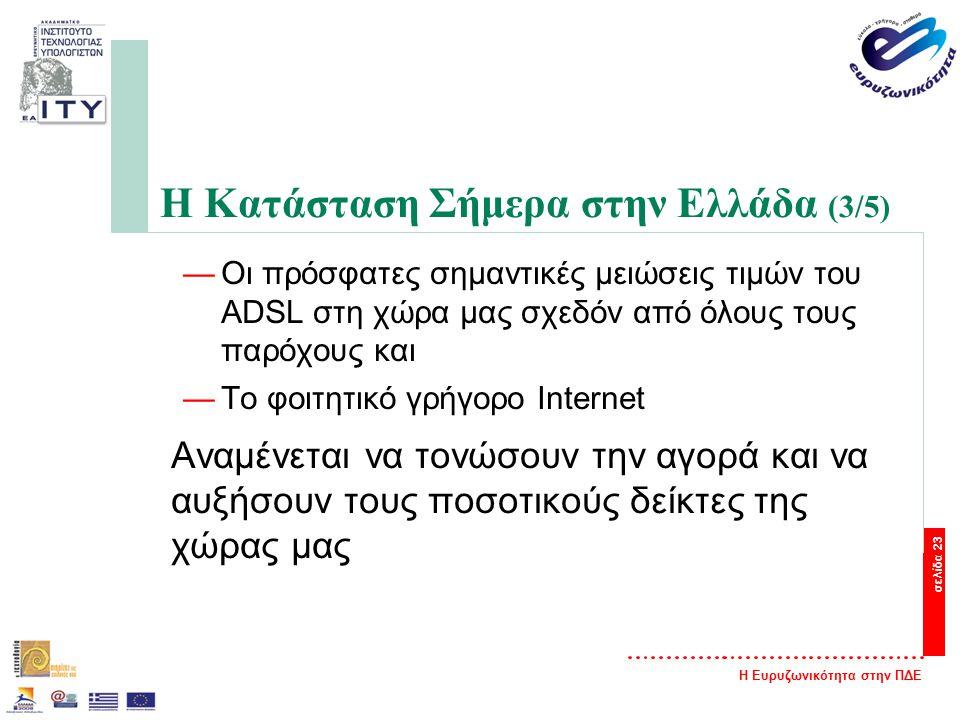 Η Ευρυζωνικότητα στην ΠΔΕ σελίδα 23 Η Κατάσταση Σήμερα στην Ελλάδα (3/5) —Οι πρόσφατες σημαντικές μειώσεις τιμών του ADSL στη χώρα μας σχεδόν από όλους τους παρόχους και —Το φοιτητικό γρήγορο Internet Αναμένεται να τονώσουν την αγορά και να αυξήσουν τους ποσοτικούς δείκτες της χώρας μας