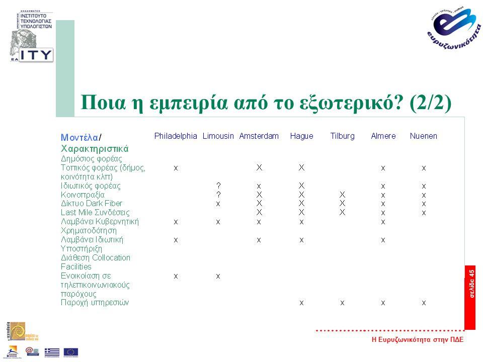 Η Ευρυζωνικότητα στην ΠΔΕ σελίδα 45 Ποια η εμπειρία από το εξωτερικό? (2/2)