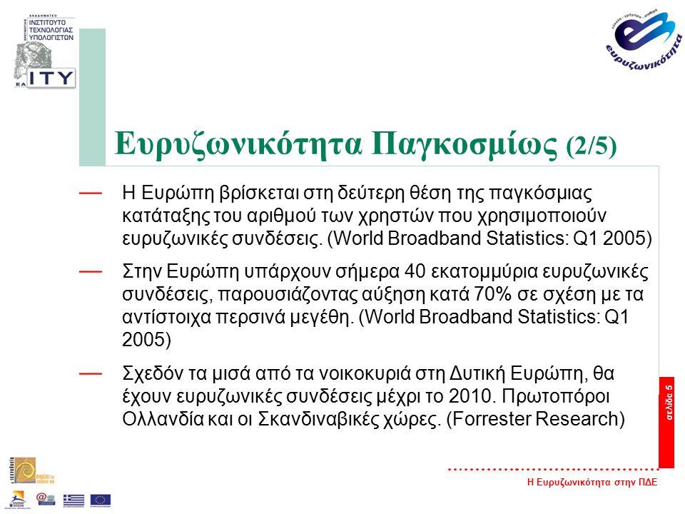 Η Ευρυζωνικότητα στην ΠΔΕ σελίδα 5 Ευρυζωνικότητα Παγκοσμίως (2/5) — Η Ευρώπη βρίσκεται στη δεύτερη θέση της παγκόσμιας κατάταξης του αριθμού των χρηστών που χρησιμοποιούν ευρυζωνικές συνδέσεις.