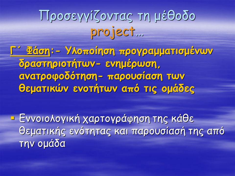 Προσεγγίζοντας τη μέθοδο project… Γ΄ Φάση:- Υλοποίηση προγραμματισμένων δραστηριοτήτων- ενημέρωση, ανατροφοδότηση- παρουσίαση των θεματικών ενοτήτων από τις ομάδες  Εννοιολογική χαρτογράφηση της κάθε θεματικής ενότητας και παρουσίασή της από την ομάδα