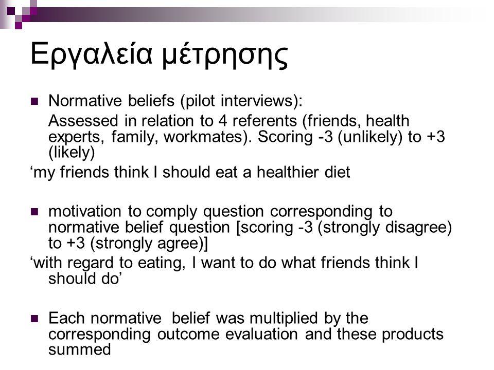 Εργαλεία μέτρησης Normative beliefs (pilot interviews): Assessed in relation to 4 referents (friends, health experts, family, workmates). Scoring -3 (