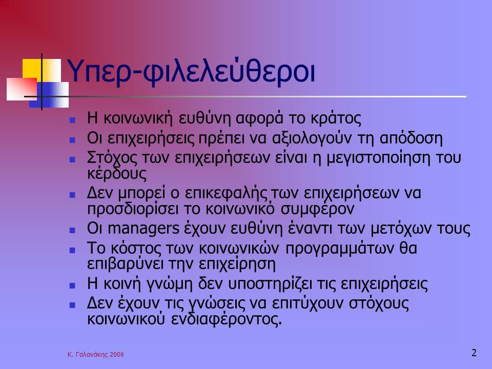 Κ. Γαλανάκης 2006 2 Υπερ-φιλελεύθεροι Η κοινωνική ευθύνη αφορά το κράτος Οι επιχειρήσεις πρέπει να αξιολογούν τη απόδοση Στόχος των επιχειρήσεων είναι
