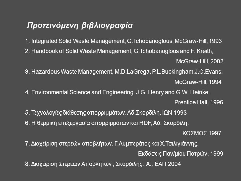 Προτεινόμενη βιβλιογραφία 1. Integrated Solid Waste Management, G.Tchobanoglous, McGraw-Hill, 1993 2. Handbook of Solid Waste Management, G.Tchobanogl