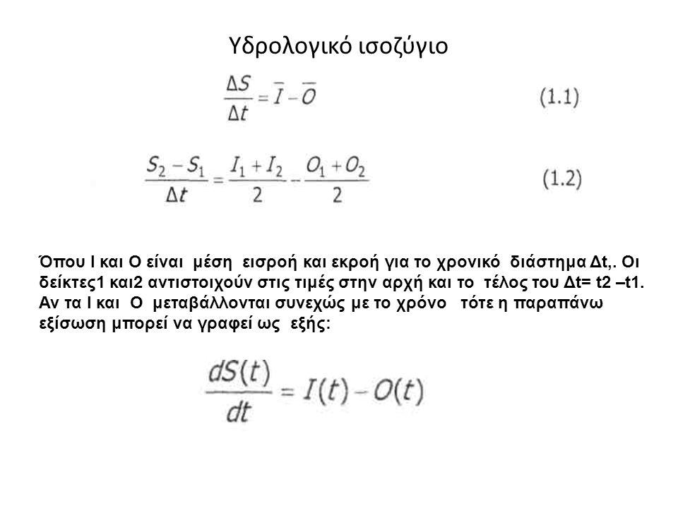 Υδρολογικό ισοζύγιο Όπου I και Ο είναι μέση εισροή και εκροή για το χρονικό διάστημα Δt,. Οι δείκτες1 και2 αντιστοιχούν στις τιμές στην αρχή και το τέ