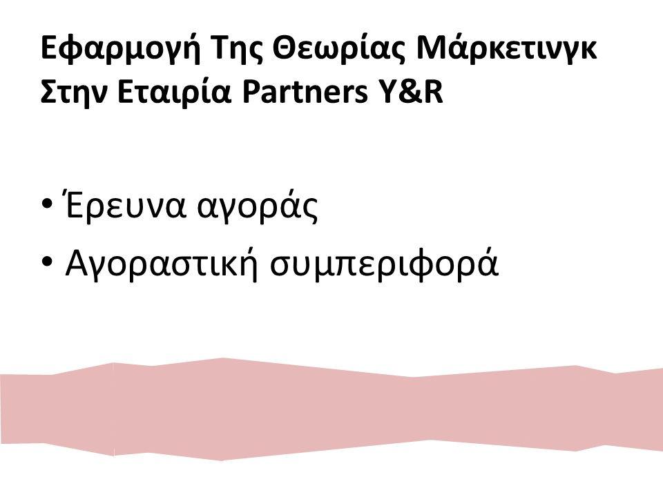 Εφαρμογή Της Θεωρίας Μάρκετινγκ Στην Εταιρία Partners Y&R Έρευνα αγοράς Αγοραστική συμπεριφορά