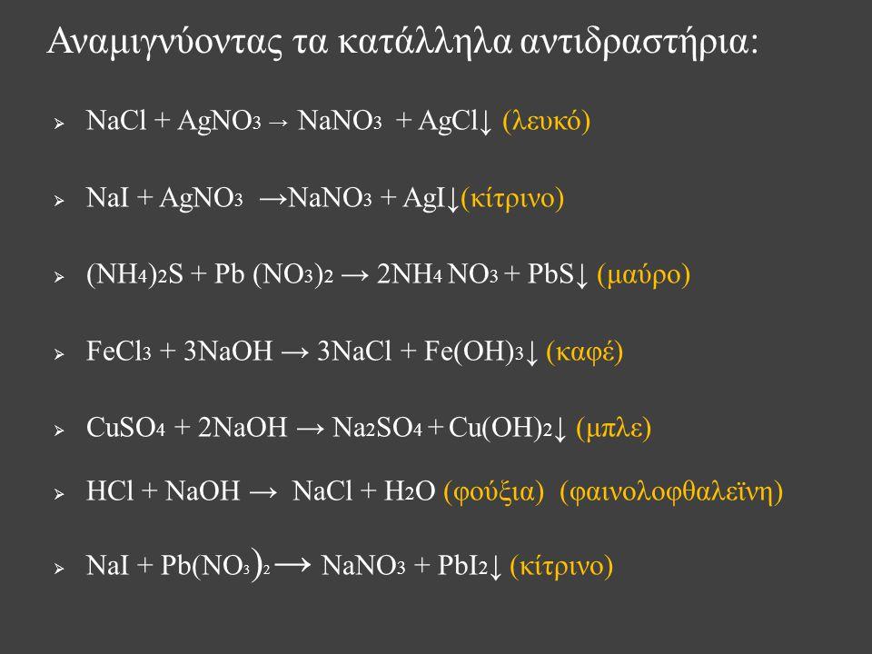  NaCl + AgNO 3 → NaNO 3 + AgCl↓ (λευκό)  NaI + AgNO 3 →NaNO 3 + AgI↓(κίτρινο)  (NH 4 ) 2 S + Pb (NO 3 ) 2 → 2NH 4 NO 3 + PbS↓ (μαύρο)  FeCl 3 + 3NaOH → 3NaCl + Fe(OH) 3 ↓ (καφέ)  CuSO 4 + 2NaOH → Na 2 SO 4 + Cu(OH) 2 ↓ (μπλε)  HCl + NaOH → NaCl + H 2 O (φούξια) (φαινολοφθαλεϊνη)  NaI + Pb(NO 3 ) 2 → NaNO 3 + PbI 2 ↓ (κίτρινο) Αναμιγνύοντας τα κατάλληλα αντιδραστήρια:
