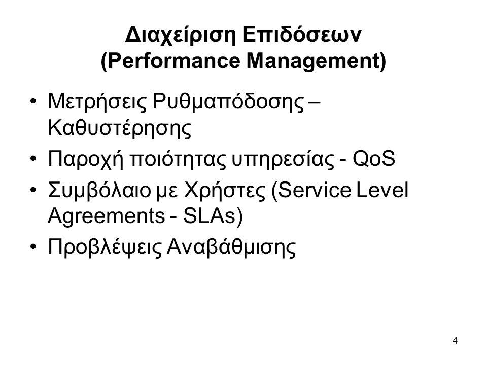 4 Διαχείριση Επιδόσεων (Performance Management) Μετρήσεις Ρυθμαπόδοσης – Καθυστέρησης Παροχή ποιότητας υπηρεσίας - QoS Συμβόλαιο με Χρήστες (Service Level Agreements - SLAs) Προβλέψεις Αναβάθμισης