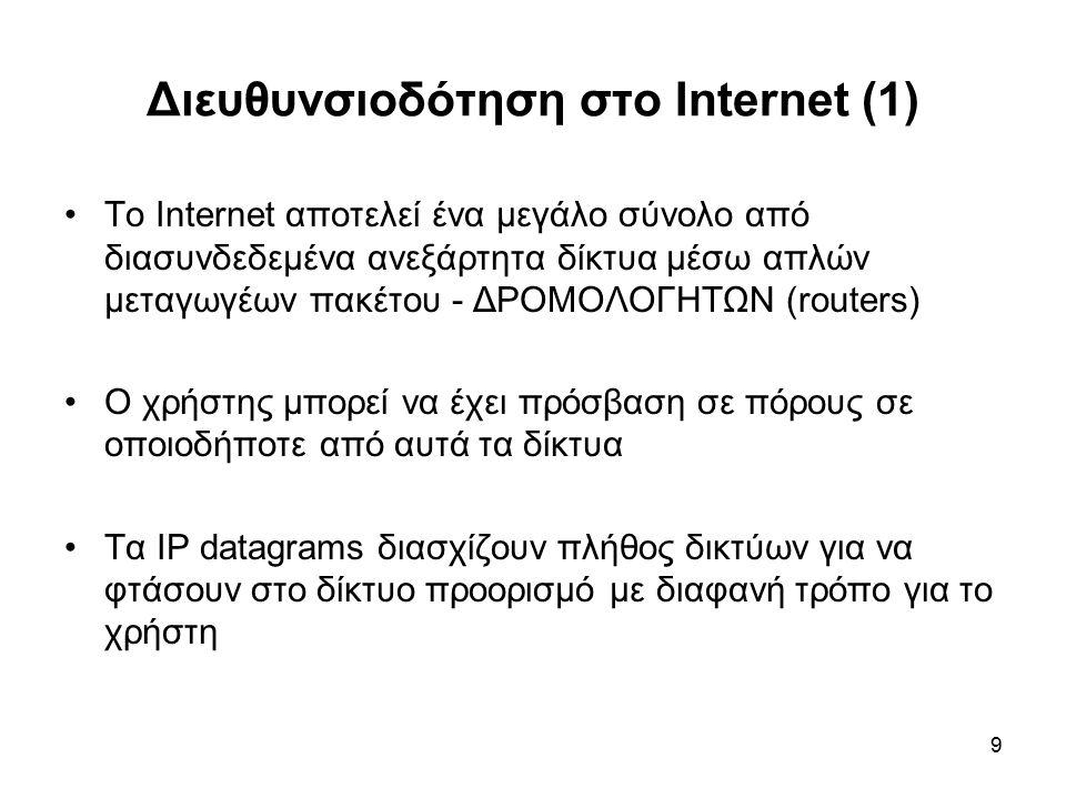 9 Διευθυνσιοδότηση στο Internet (1) To Internet αποτελεί ένα μεγάλο σύνολο από διασυνδεδεμένα ανεξάρτητα δίκτυα μέσω απλών μεταγωγέων πακέτου - ΔΡΟΜΟΛΟΓΗΤΩΝ (routers) Ο χρήστης μπορεί να έχει πρόσβαση σε πόρους σε οποιοδήποτε από αυτά τα δίκτυα Τα IP datagrams διασχίζουν πλήθος δικτύων για να φτάσουν στο δίκτυο προορισμό με διαφανή τρόπο για το χρήστη