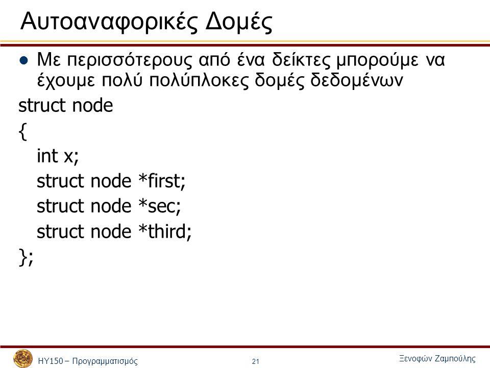 ΗΥ 150 – Προγραμματισμός Ξενοφών Ζαμ π ούλης 21 Αυτοαναφορικές Δομές Με π ερισσότερους α π ό ένα δείκτες μ π ορούμε να έχουμε π ολύ π ολύ π λοκες δομές δεδομένων struct node { int x; struct node *first; struct node *sec; struct node *third; };