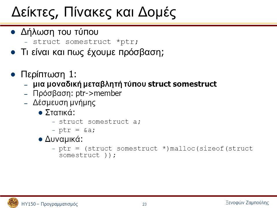 ΗΥ 150 – Προγραμματισμός Ξενοφών Ζαμ π ούλης 23 Δείκτες, Πίνακες και Δομές Δήλωση του τύ π ου – struct somestruct *ptr; Τι είναι και π ως έχουμε π ρόσβαση ; Περί π τωση 1: – μια μοναδική μεταβλητή τύ π ου struct somestruct – Πρόσβαση : ptr->member – Δέσμευση μνήμης Στατικά : – struct somestruct a; – ptr = &a; Δυναμικά : – ptr = (struct somestruct *)malloc(sizeof(struct somestruct ));