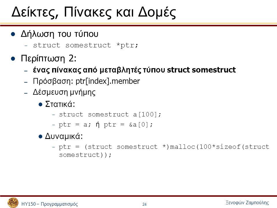 ΗΥ 150 – Προγραμματισμός Ξενοφών Ζαμ π ούλης 24 Δείκτες, Πίνακες και Δομές Δήλωση του τύ π ου – struct somestruct *ptr; Περί π τωση 2: – ένας π ίνακας α π ό μεταβλητές τύ π ου struct somestruct – Πρόσβαση : ptr[index].member – Δέσμευση μνήμης Στατικά : – struct somestruct a[100]; – ptr = a; ή ptr = &a[0]; Δυναμικά : – ptr = (struct somestruct *)malloc(100*sizeof(struct somestruct));