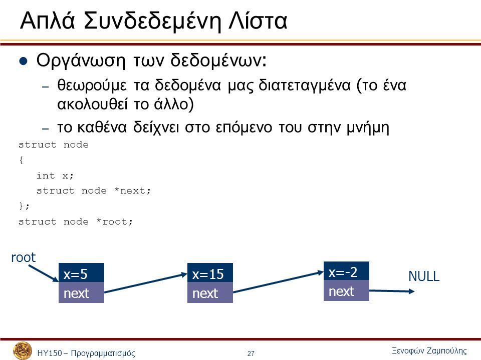 ΗΥ 150 – Προγραμματισμός Ξενοφών Ζαμ π ούλης 27 Α π λά Συνδεδεμένη Λίστα Οργάνωση των δεδομένων : – θεωρούμε τα δεδομένα μας διατεταγμένα ( το ένα ακολουθεί το άλλο ) – το καθένα δείχνει στο ε π όμενο του στην μνήμη struct node { int x; struct node *next; }; struct node *root; x=5x=15 next NULL x=-2 next root