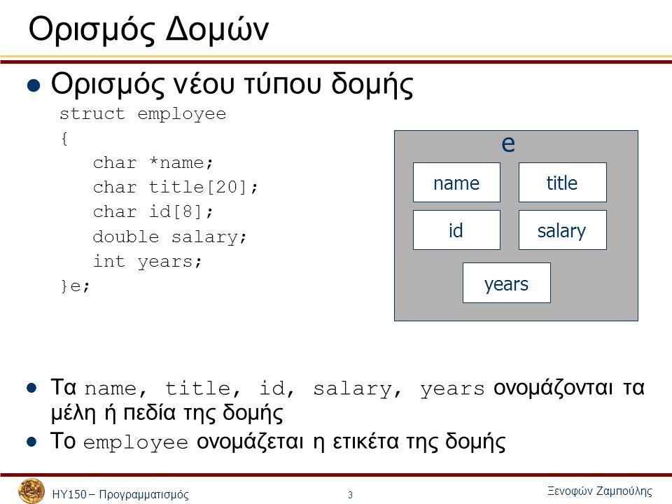 ΗΥ 150 – Προγραμματισμός Ξενοφών Ζαμ π ούλης 3 Ορισμός Δομών Ορισμός νέου τύ π ου δομής struct employee { char *name; char title[20]; char id[8]; double salary; int years; }e; Τα name, title, id, salary, years ονομάζονται τα μέλη ή π εδία της δομής To employee ονομάζεται η ετικέτα της δομής nametitle idsalary years e