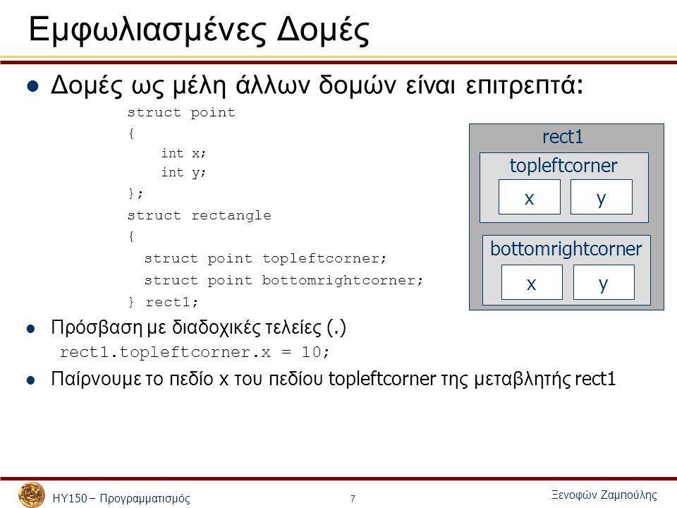 ΗΥ 150 – Προγραμματισμός Ξενοφών Ζαμ π ούλης 7 Εμφωλιασμένες Δομές Δομές ως μέλη άλλων δομών είναι ε π ιτρε π τά : struct point { int x; int y; }; struct rectangle { struct point topleftcorner; struct point bottomrightcorner; } rect1; Πρόσβαση με διαδοχικές τελείες (.) rect1.topleftcorner.x = 10; Παίρνουμε το π εδίο x του π εδίου topleftcorner της μεταβλητής rect1 bottomrightcorner topleftcorner xy xy rect1