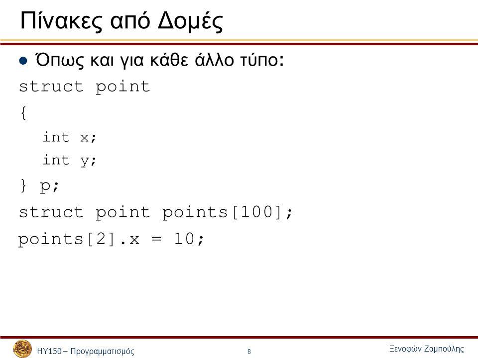 ΗΥ 150 – Προγραμματισμός Ξενοφών Ζαμ π ούλης 8 Πίνακες α π ό Δομές Ό π ως και για κάθε άλλο τύ π ο : struct point { int x; int y; } p; struct point points[100]; points[2].x = 10;