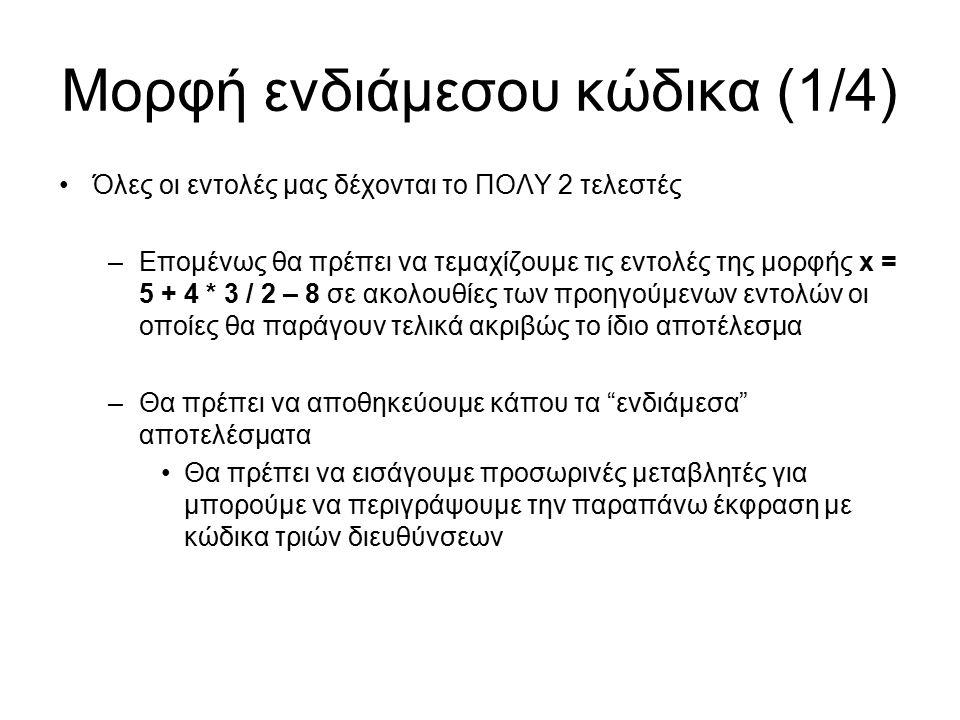 Μορφή ενδιάμεσου κώδικα (1/4) Όλες οι εντολές μας δέχονται το ΠΟΛΥ 2 τελεστές –Επομένως θα πρέπει να τεμαχίζουμε τις εντολές της μορφής x = 5 + 4 * 3 / 2 – 8 σε ακολουθίες των προηγούμενων εντολών οι οποίες θα παράγουν τελικά ακριβώς το ίδιο αποτέλεσμα –Θα πρέπει να αποθηκεύουμε κάπου τα ενδιάμεσα αποτελέσματα Θα πρέπει να εισάγουμε προσωρινές μεταβλητές για μπορούμε να περιγράψουμε την παραπάνω έκφραση με κώδικα τριών διευθύνσεων