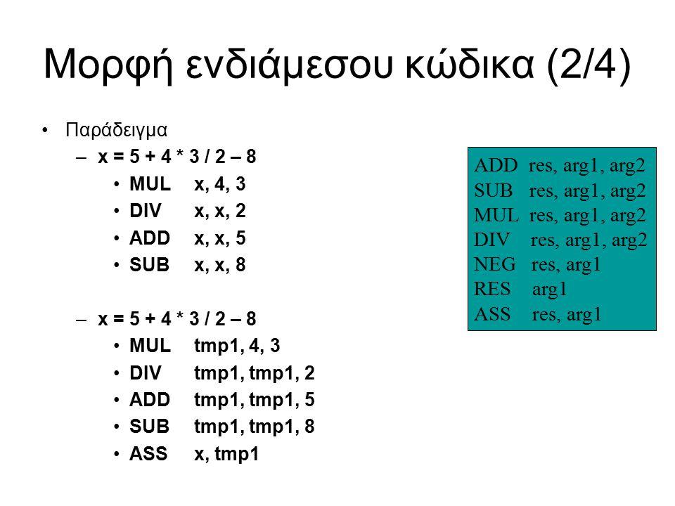 Μορφή ενδιάμεσου κώδικα (2/4) Παράδειγμα –x = 5 + 4 * 3 / 2 – 8 MULx, 4, 3 DIVx, x, 2 ADDx, x, 5 SUBx, x, 8 –x = 5 + 4 * 3 / 2 – 8 MULtmp1, 4, 3 DIVtmp1, tmp1, 2 ADDtmp1, tmp1, 5 SUBtmp1, tmp1, 8 ASSx, tmp1 ADD res, arg1, arg2 SUB res, arg1, arg2 MUL res, arg1, arg2 DIV res, arg1, arg2 NEG res, arg1 RES arg1 ASS res, arg1