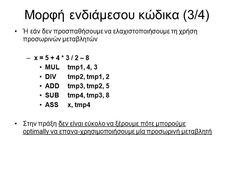 Μορφή ενδιάμεσου κώδικα (3/4) Ή εάν δεν προσπαθήσουμε να ελαχιστοποιήσουμε τη χρήση προσωρινών μεταβλητών –x = 5 + 4 * 3 / 2 – 8 MULtmp1, 4, 3 DIVtmp2, tmp1, 2 ADDtmp3, tmp2, 5 SUBtmp4, tmp3, 8 ASSx, tmp4 Στην πράξη δεν είναι εύκολο να ξέρουμε πότε μπορούμε optimally να επανα-χρησιμοποιήσουμε μία προσωρινή μεταβλητή